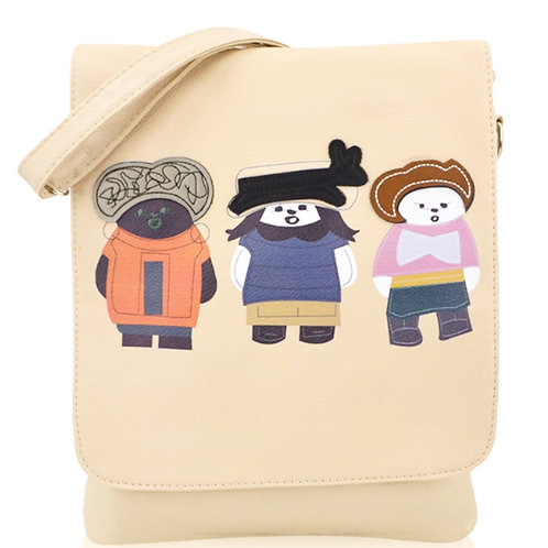 Small Beige Cross Body Bag with Three Friends