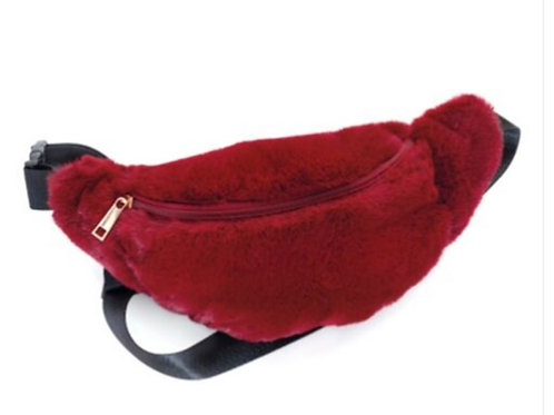 Burgundy Fluffy Furry Bum Bag Fanny Pack