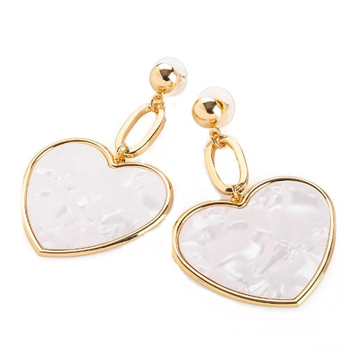 White Marble Pattern Gold Heart Drop Earrings