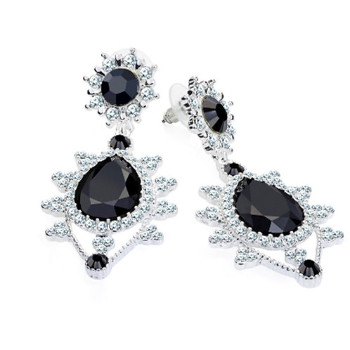 Womens Silver Crystal Glam Black bead Drop Earrings