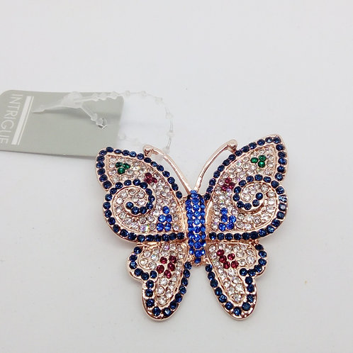 Small Rose Gold Crystal Butterfly Brooch