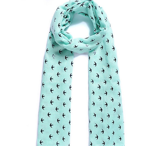 Light Green Blue Swallow Bird Scarf