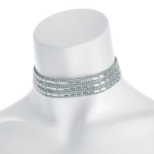 Silver Mirror Crystals Choker Necklace