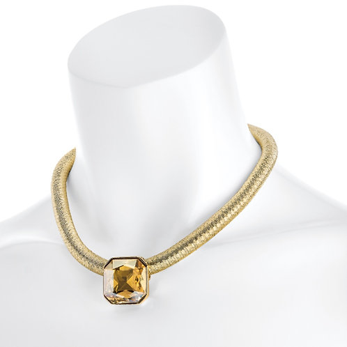 Womens Gold Jewelled Choker Collar Necklace