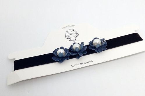 Black Velvet Choker Blue Beaded Flowers