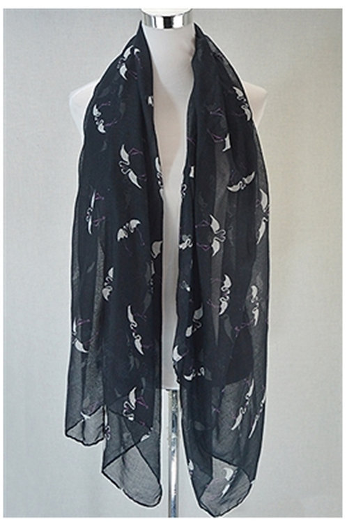 Black Chiffon Feel Flamingo Scarf