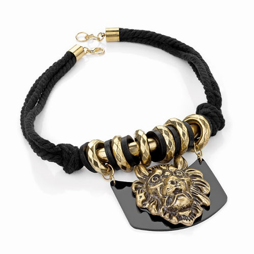 Black Cord Choker Rocker Necklace Lion Pendant