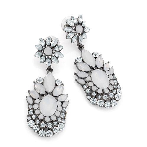 White Opal Hematite Effect Statement Earrings