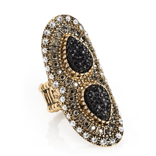 Womens Gold Crystal Hematite Effect Elasticated Ring