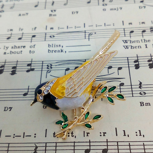 Pretty Colourful Bird Brooch Pin