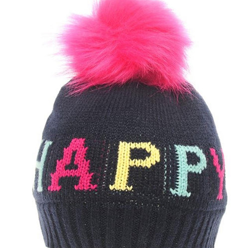Kids Navy Blue Happy pom Pom Hat