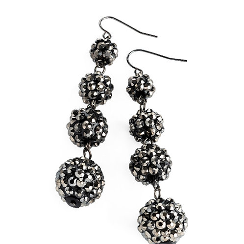 Hematite Colour Four Ball Dangly Drop Earrings