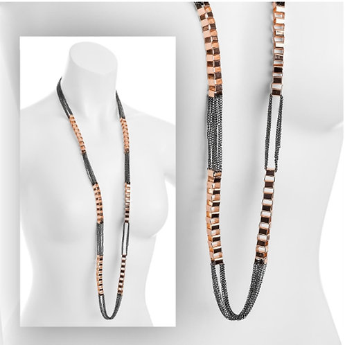 Long Rose Gold Hematite Bike Chain Effect Necklace