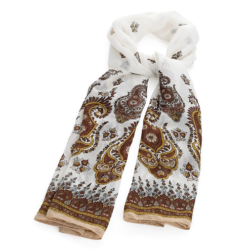 Womens White Brown Paisley Scarf