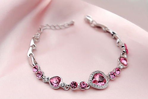 Silver Chain Bracelet Pink Jewels
