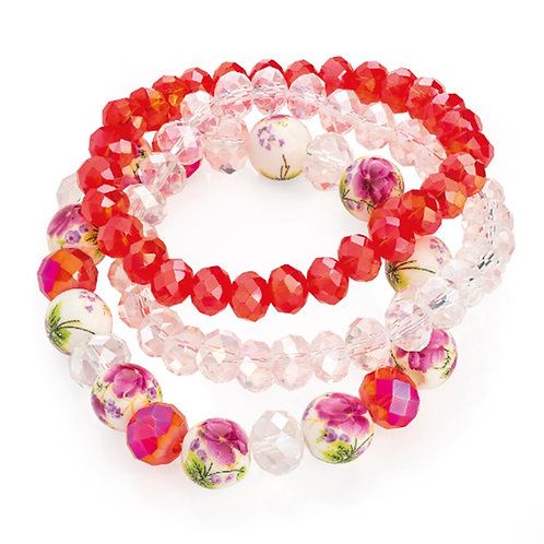 Red Multi three piece elasticated bracelet set