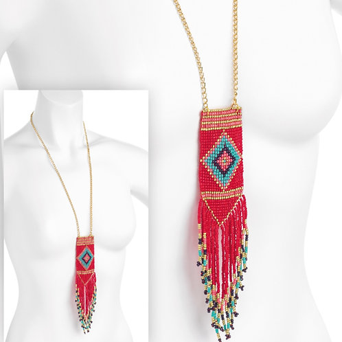 Coral Turquoise Seed Bead Tribal Festival necklace