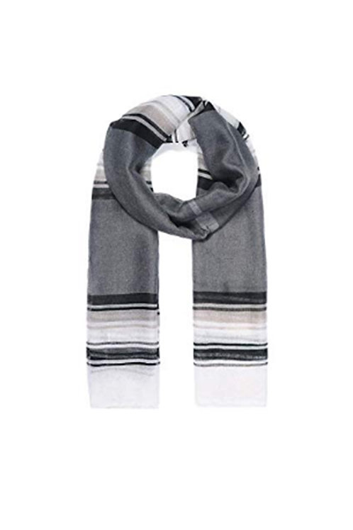 Unisex Grey White Stripey Scarf