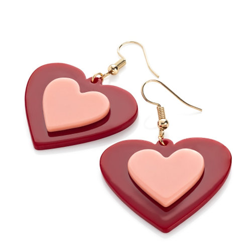 Red pink heart retro dangly earrings