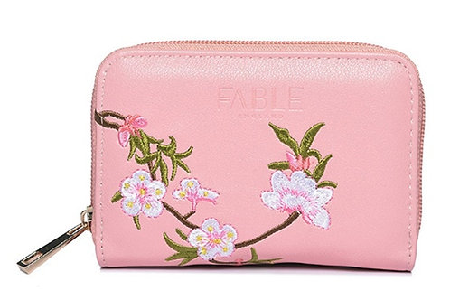Womens Small Light Pink Flower Faux leather Purse