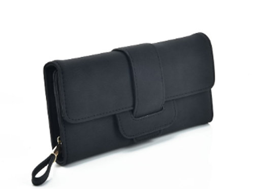 Womens Long Black Buckled Purse