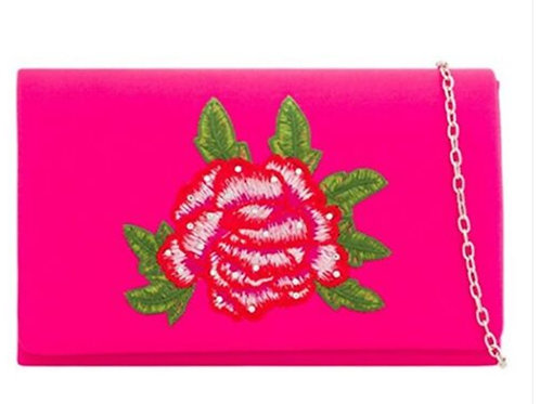 Fuchsia Pink Satin Embroidered Floral Clutch Bag