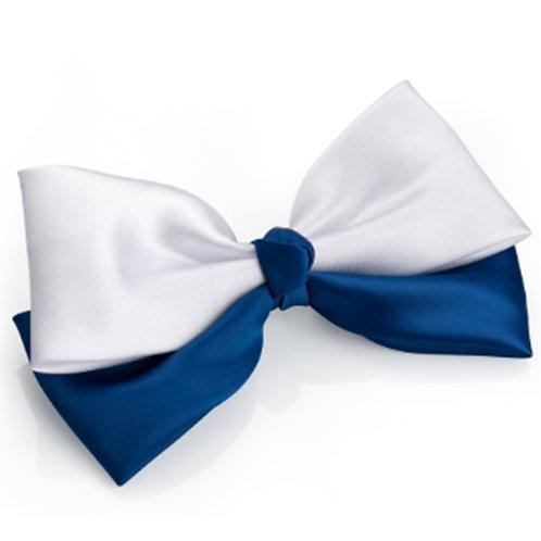 Girls Satin Blue White Hair Bow Clip x2