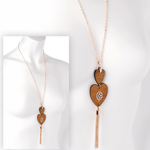 Long Rose Gold Wooden Heart Pendant Necklace