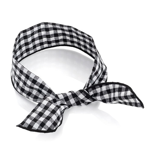 Black White Checked Gingham Wire Headwrap