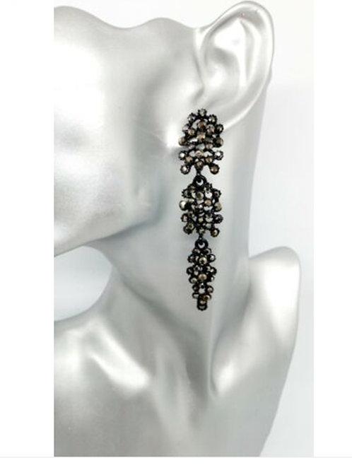 Long Black Rhinestone Dangly Glam Earrings