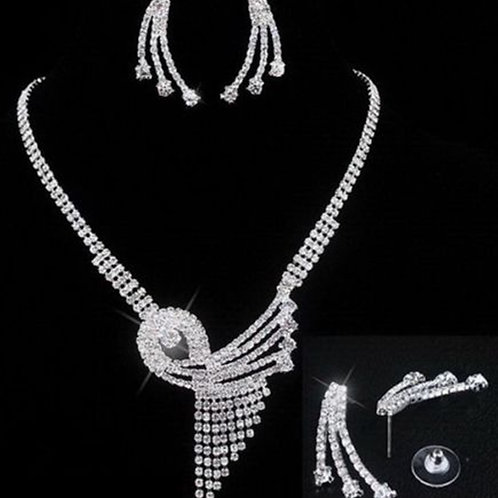 Silver Crystal Diamante Necklace Earring Set