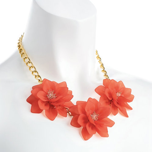 Coral Peach orange Chunky large Flower Statement Necklace