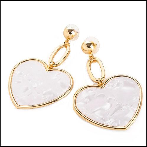 White Marble Pattern Gold Heart Drop Earrings