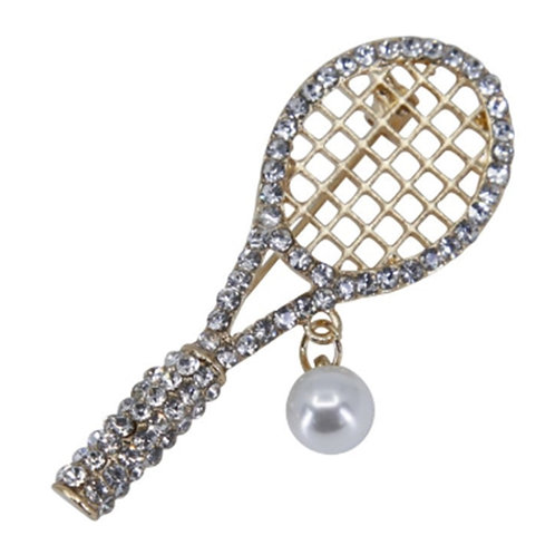 Gold Colour Crystal Tennis Racket brooch Pin