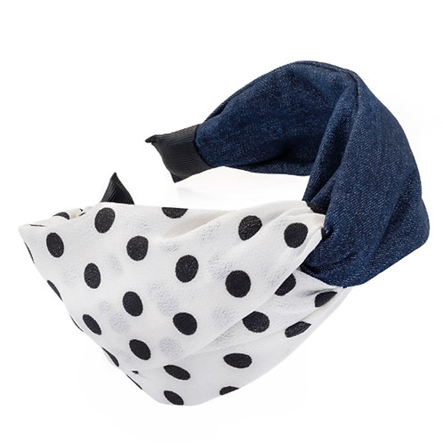 Denim Blue Black Polka Dot Knotted Wide Hair Band