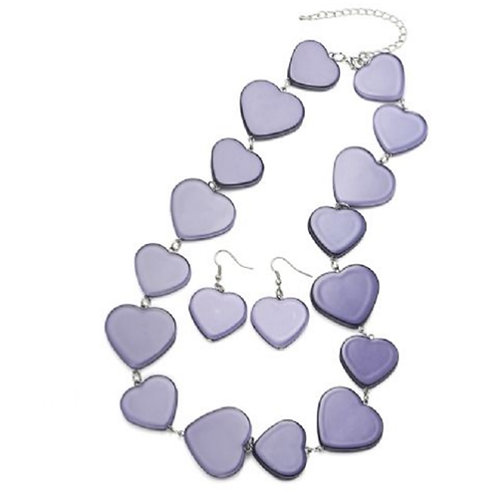 Purple Lilac Heart Necklace Earring Set