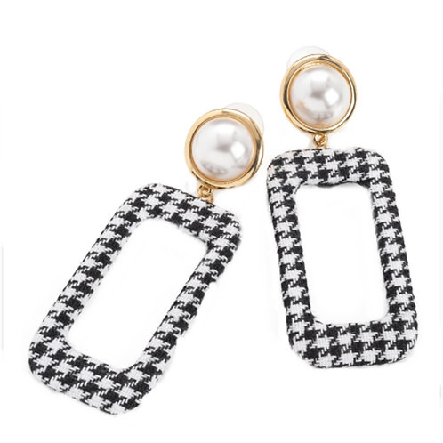 Long Black White Houndstooth Checked dangly Pearly Earrings