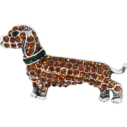 Bronze Tone Jewelled Sausage Dog brooch Pin
