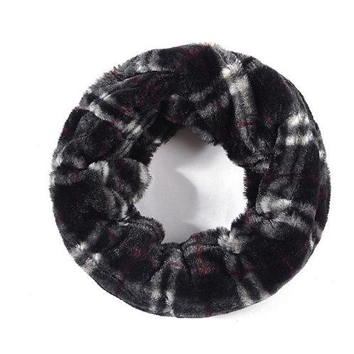 Black Check Furry Snood Scarf
