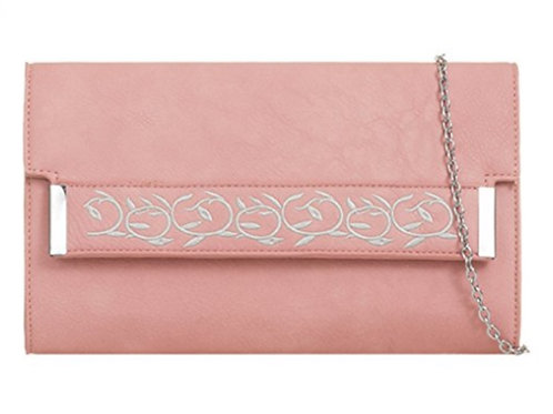 Large Light Pink Faux Leather Clutch Bag