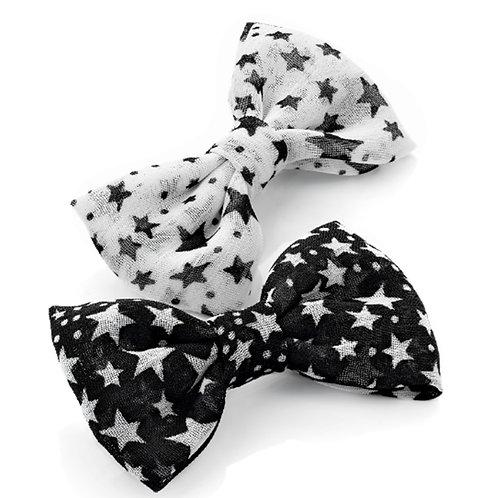 Mini Kids Star Black White Hair Bows