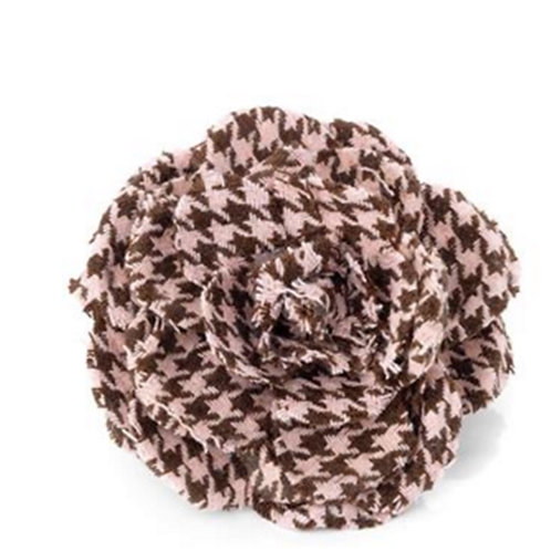 Pink Brown Checked Houndstooth Hair Flower Clip