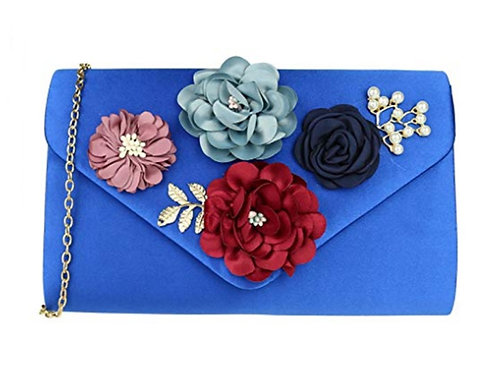 Royal Blue Satin Floral Evening Bag