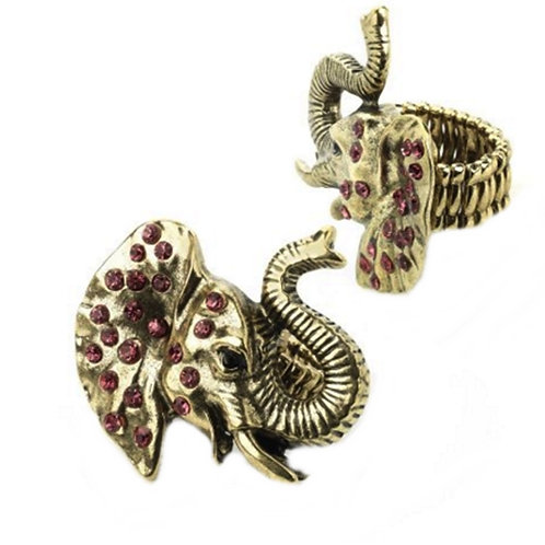 Fun Gold Colour Elephant Stretchy Ring