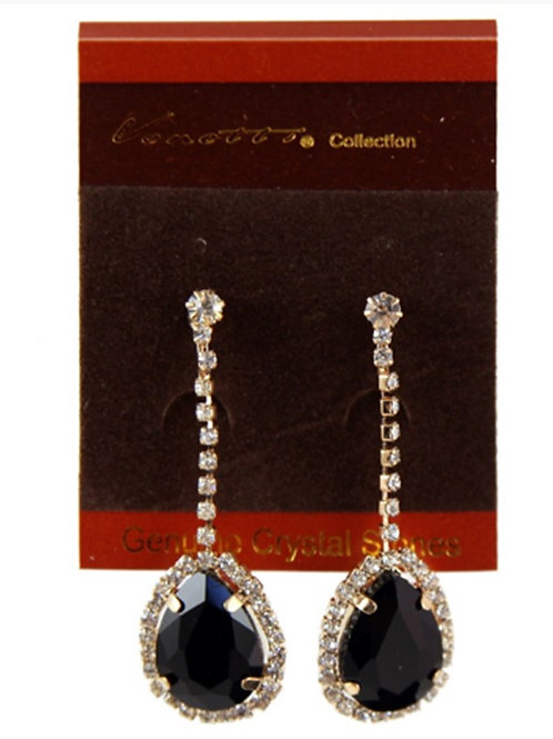Womens Dangly Diamante Black Bead Clip on Earrings