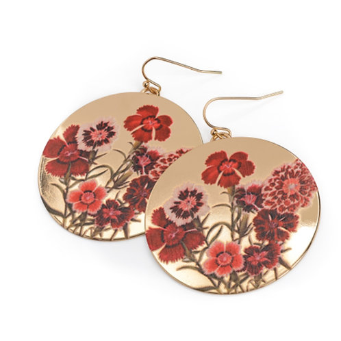 Gold Colour Red Flower Print Round Drop Earrings