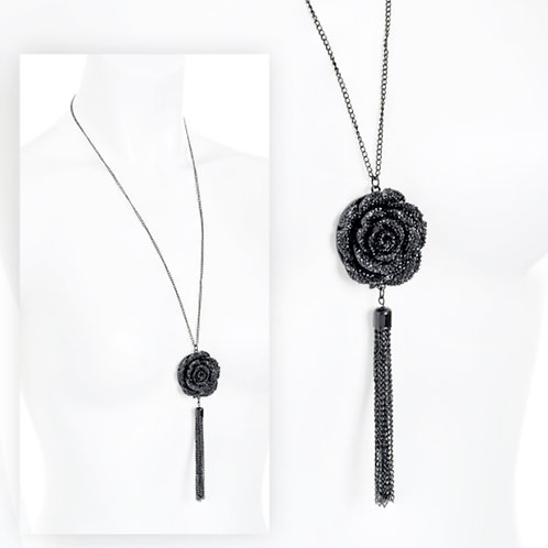 Long Black Glittery Flower Gothic Pendant Necklace
