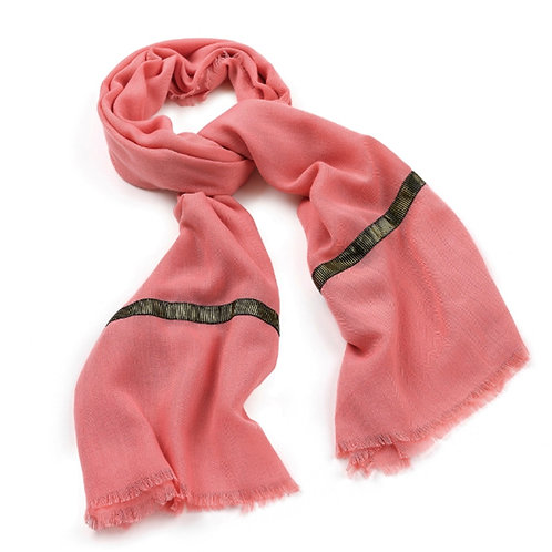 Coral Peach Wide Frayed Scarf