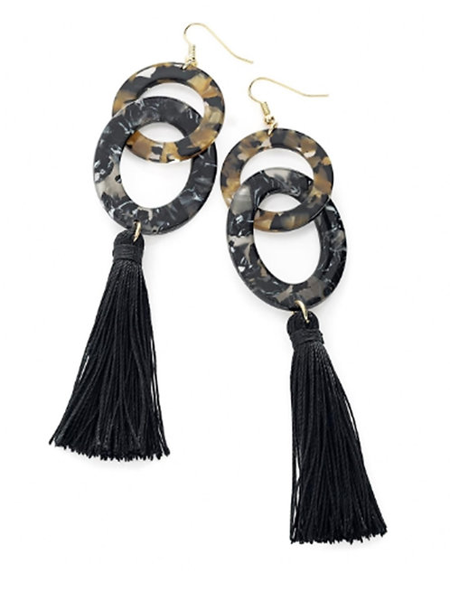 Black Tassel marble Effect Dangly Earrings