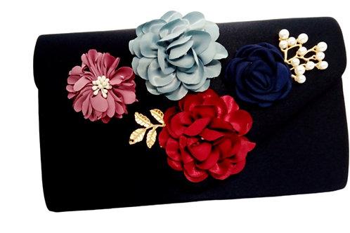 Black Satin Floral Evening Bag